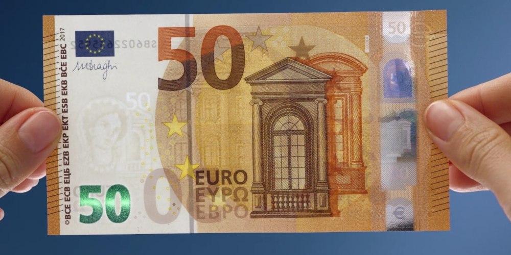 Купюры евро нового образца пятв