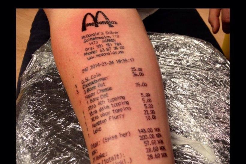 MIDA VEEL?! Norrakas lasi endale viimase McDonald'si ostutšeki käe peale tätoveerida