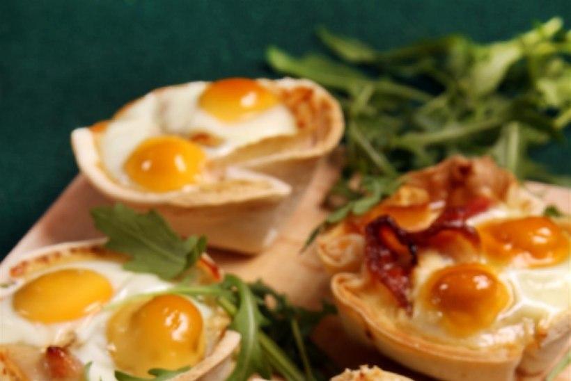 Tortiljakorvikesed peekoni ja munaga