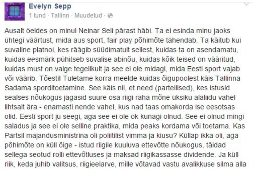 Evelyn Sepp: Neinar Seli käitub kui suvaline blatnoi