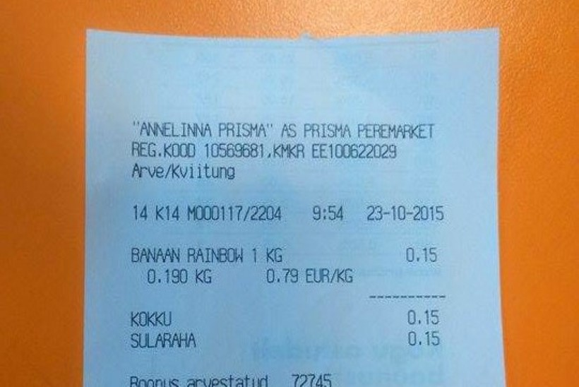 FOTOD   KATSE: millisest poest saab ühe banaani ostmisel ligi 30-sentimeetrise tšeki?
