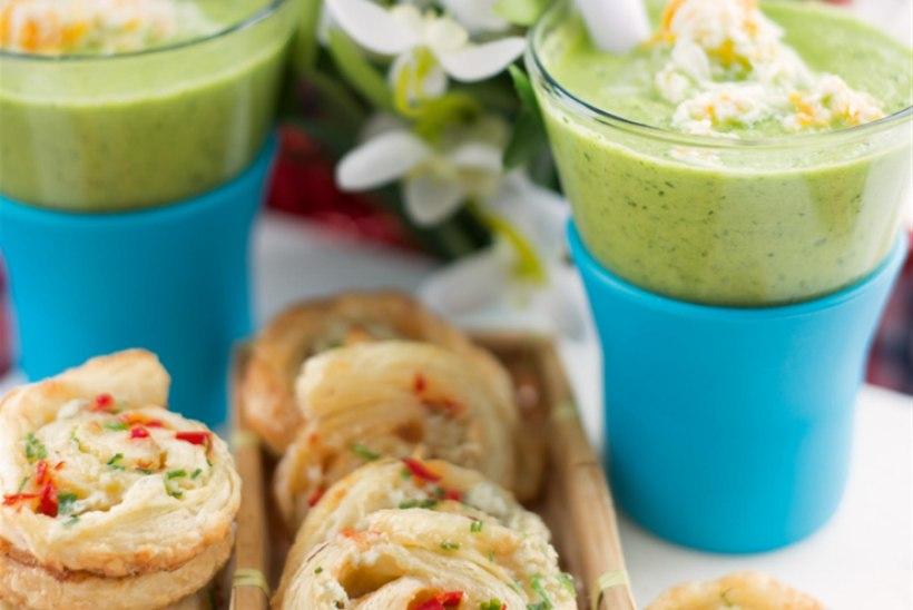 Roheline gazpacho ja sinihallitusjuustuga tšillikeerud