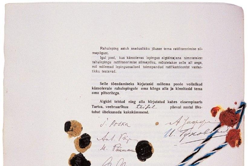 Tartu rahulepingu sõlmimisest möödub 95 aastat