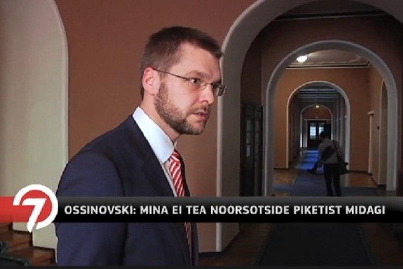 """TV3   Noorsotside pikett koalitsioonipartneri peakorteri ees tekitas segadust. Ossinovski närviliselt: """"Ma ei tea sellest mitte midagi!"""""""