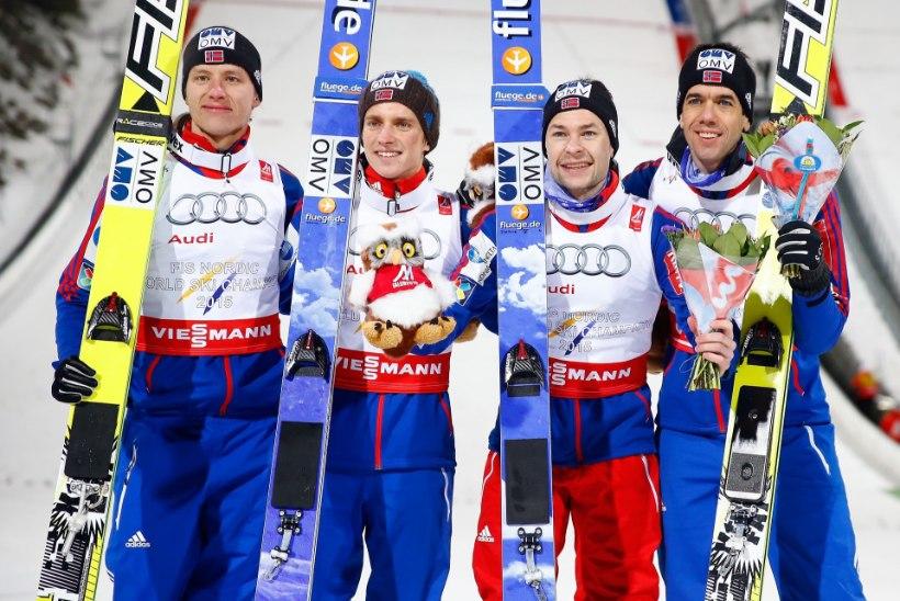 FALUNI MM | Norra kullasadu jätkus ka suure mäe meeskonnavõistlusel