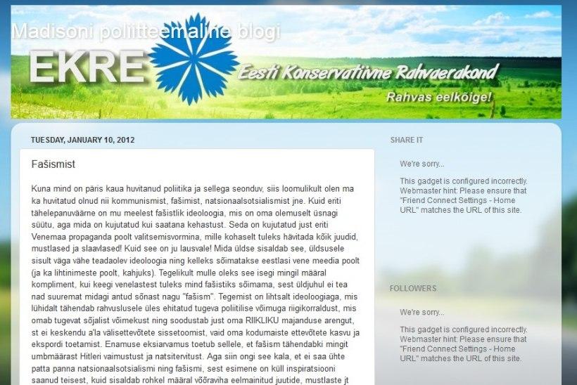 Riigikokku valitud Jaak Madison: natsismis ja fašismis on palju positiivset