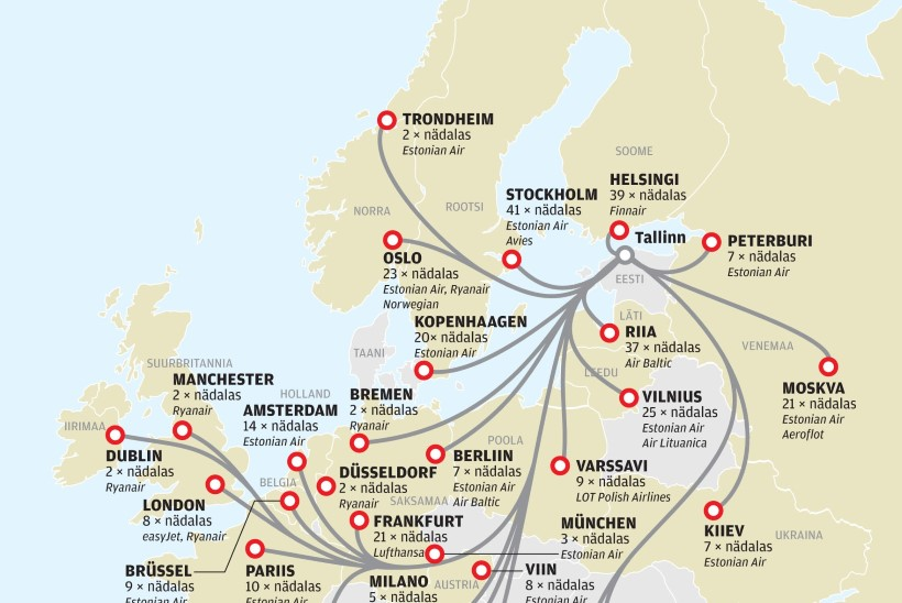 Suvel saab Tallinnast otselennuga 32 sihtkohta