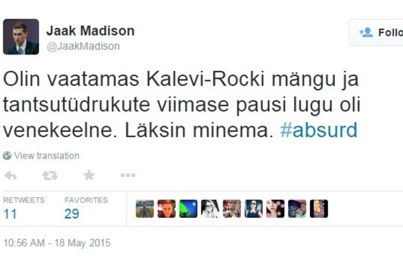 SOLVAV JA SKANDAALNE: Jaak Madisoni tviit lõi Twitteris lõkkele