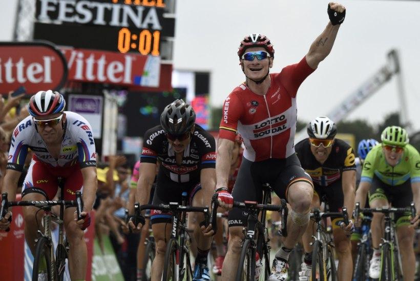Tour'i 15. etapi võitis sakslane Andre Greipel, Kangert grupifinišis 24.