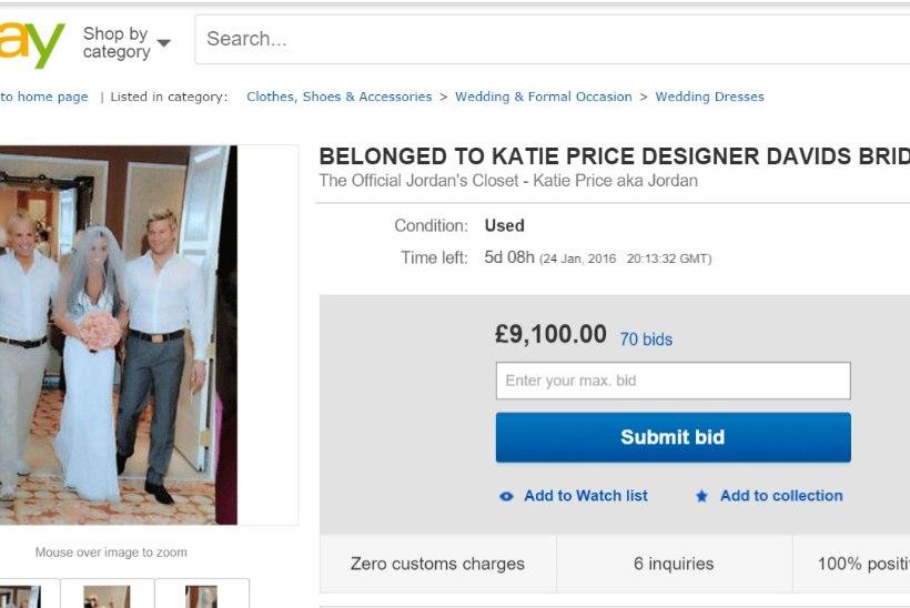 Endine glamuurimodell Katie Price müüb eBay's pulmakleiti