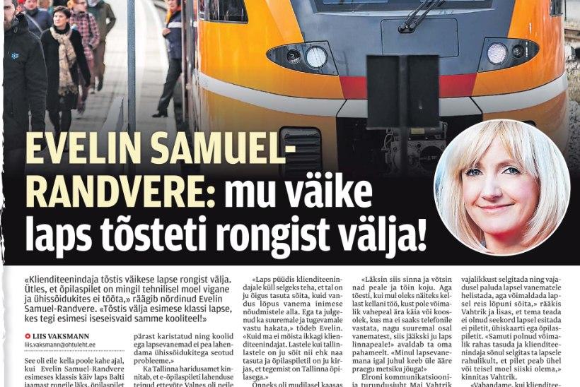 """Evelin Samuel-Randvere: """"Elron vabandas ning pakkus kompensatsiooniks meie perele rongisõitu. Loobusime viisakalt."""""""