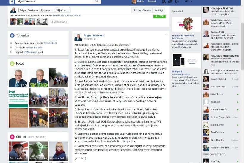 Edgar Savisaar möllas öösel sotsiaalmeedias