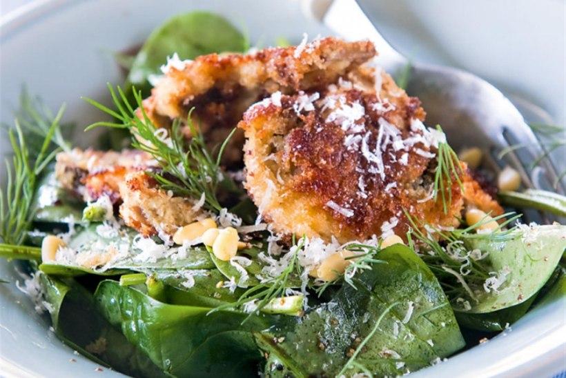 Spinatisalat seente ja pähklitega