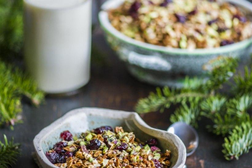 Müsli jõhvikate ja pistaatsiapähklitega