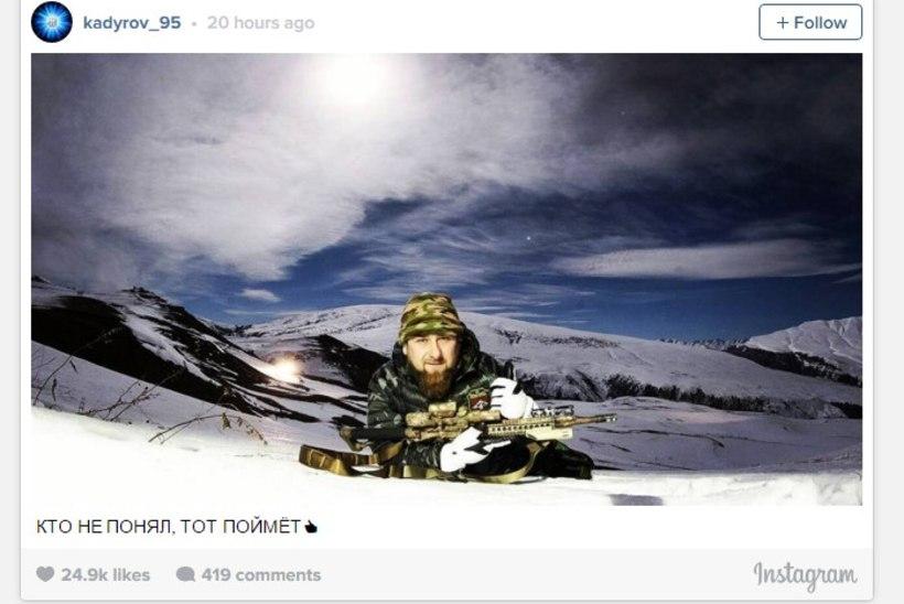 Täpsuspüssiga Ramzan Kadõrov Instagramis