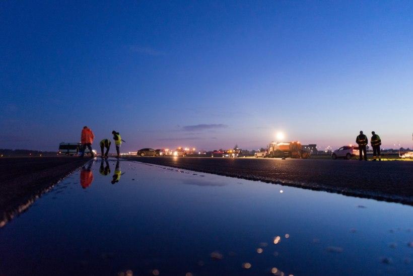 Teetööliste viis öötundi lennujaama stardirajal: teemantpuuriga tulede kallal