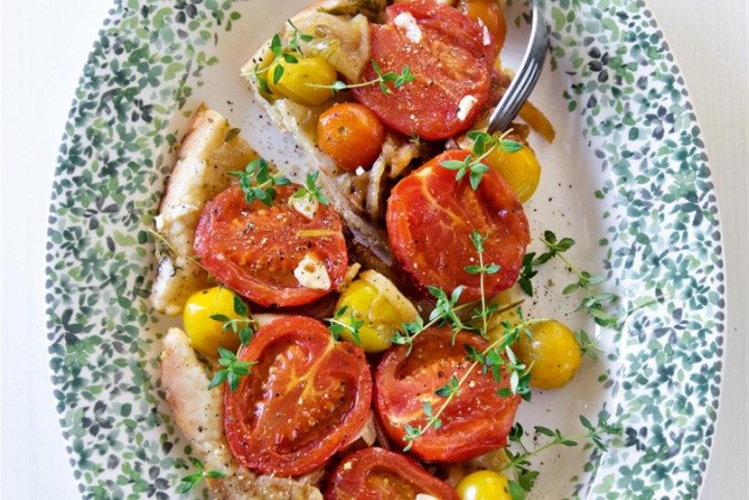Tomati-karamellsibula tarte Tatin