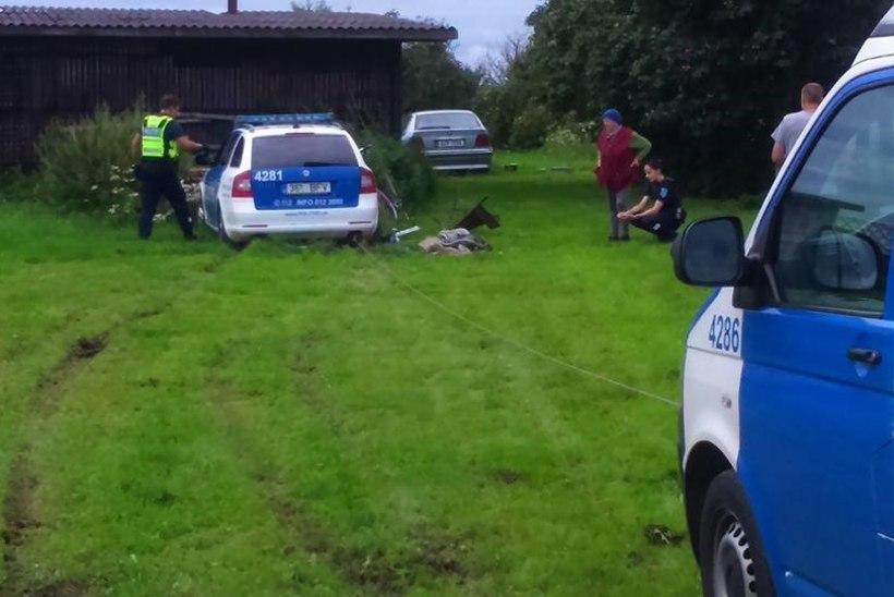 Politseiauto sõitis külamehe kaevu katki