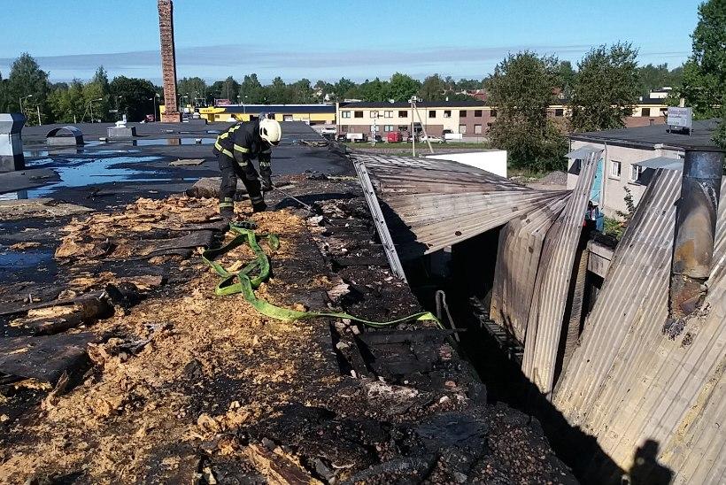 FOTOD SÜNDMUSKOHALT | Tartus põles vaibamüügi ettevõtte töökoja- ja laohoone