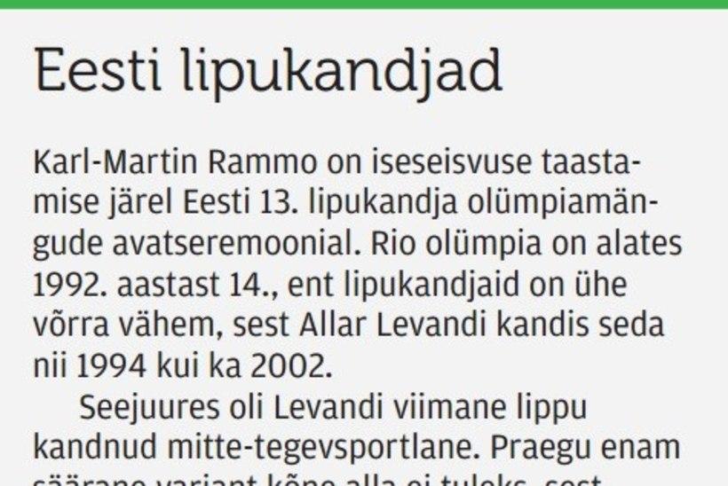 Eesti – 92,9% mehine spordimaa! Miks eelistati avatseremoonia lipukandja valikul Rammot Puustale?