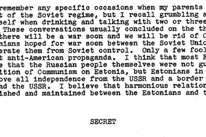 Mida põnevat leiab CIA vanadest dokumentidest Eesti kohta?