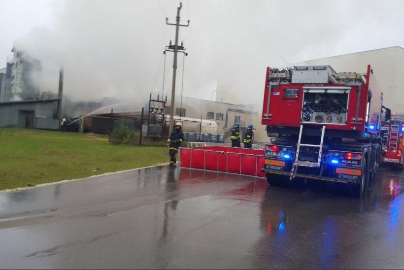 HIIGELPÕLENG: Tartumaal süttinud viljakuivatit kustutatakse 15 päästeautoga