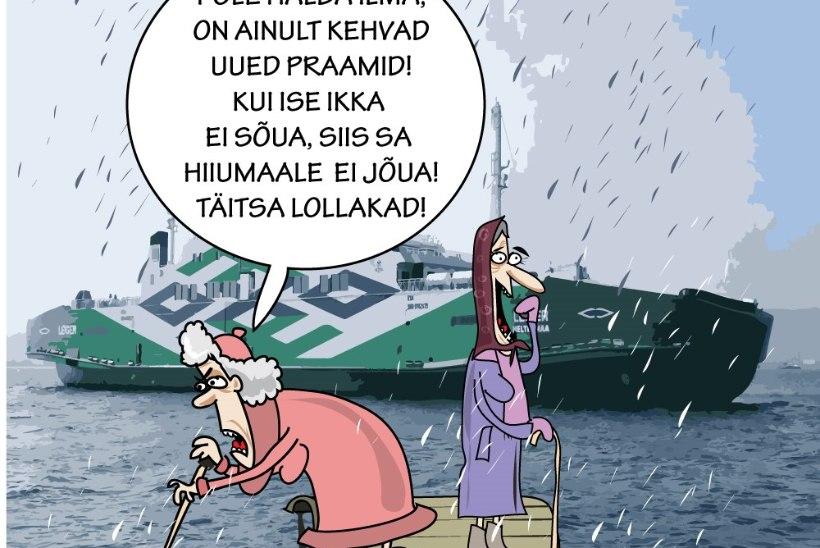 Karikatuur   Praam puhkab jalga