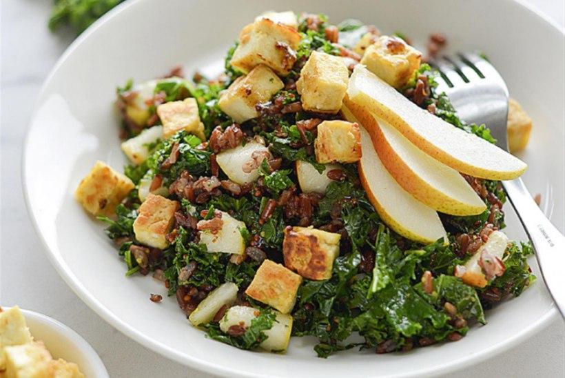 Lehtkapsa ja täisterariisi salat tofuga