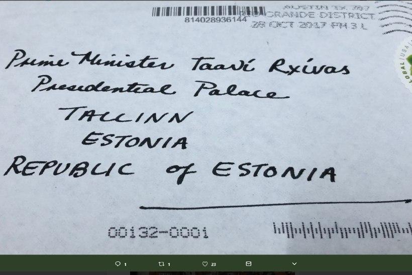 FOTO   Ekslikust aadressist hoolimata jõudis kiri Taavi Rõivaseni