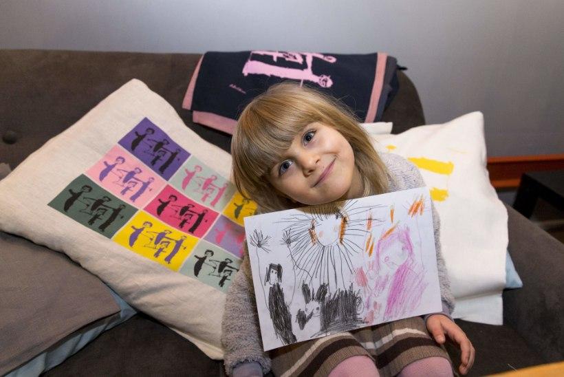 Saage tuttavaks − viieaastane disainer! Väikese Adele suur kunst sai padjapüüriks ja köögirätiks