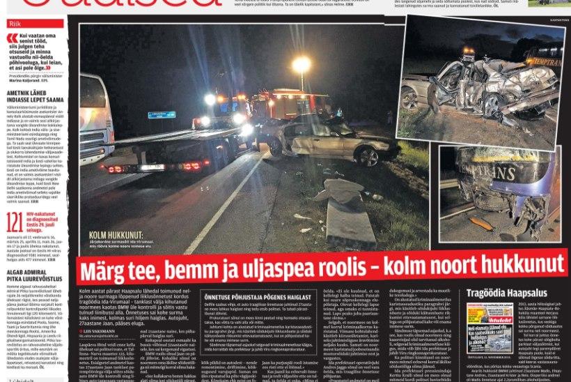 ELAMATA JÄÄNUD ELUD   Prokuratuur saatis kohtusse kolme hukkunuga liiklusõnnetuse kriminaalasja