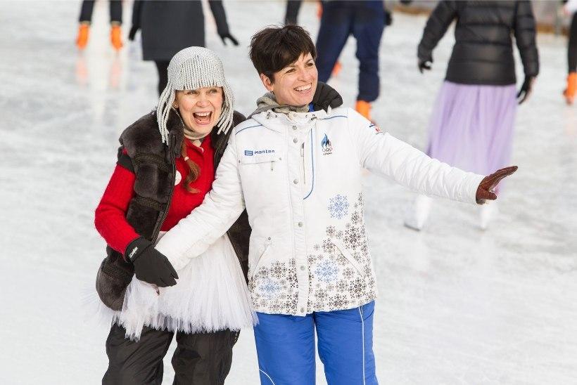 ÕHTULEHE GALERII I Estonia kollektiiv lustis vastlapäeva puhul uisuplatsil
