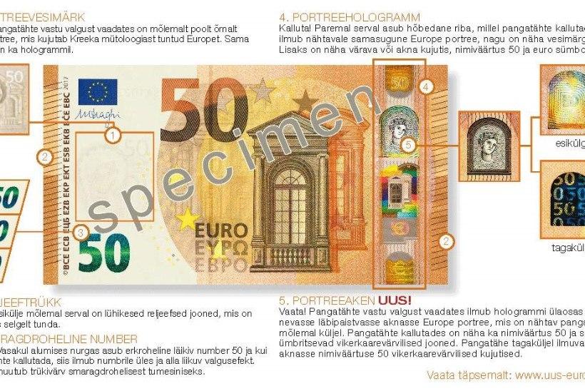 Eesti pank laseb ringlusse uued 50eurosed