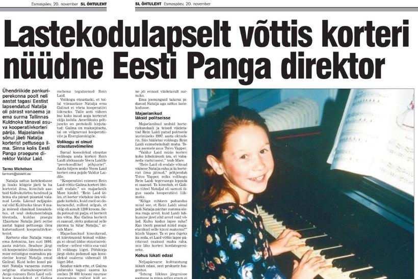 RETRO | Lastekodulapselt võttis korteri nüüdne Eesti Panga direktor