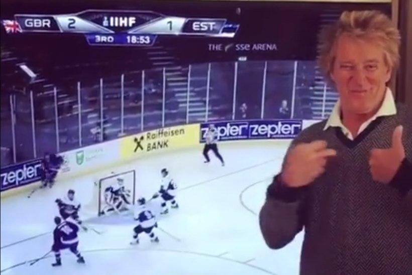 VIDEO | Rokilegend Rod Stewartile tõi Suurbritannia jäähokikoondise võit Eesti üle pisara silma