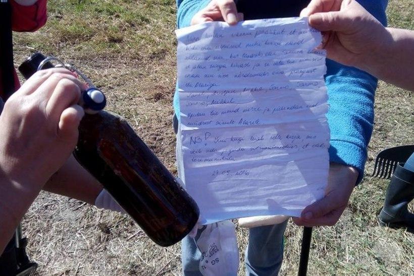 Lindi kaluriküla talgulised leidsid pudeliposti