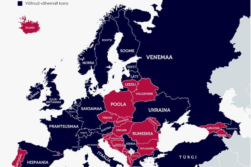 KAART JA TABEL | Millised riigid ja mitu korda on Eurovisionil osalenud, ent pole võitnud?