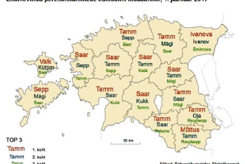 VAATA, KUI POPP SINU NIMI ON! Iga kuues Eesti elanik kannab neljatähelist perekonnanime