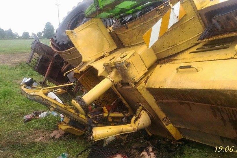 Kummaline juhtum Tormas: alkoholijoobes traktorist keeras masina kummuli, kuid pääses vaid kriimustustega