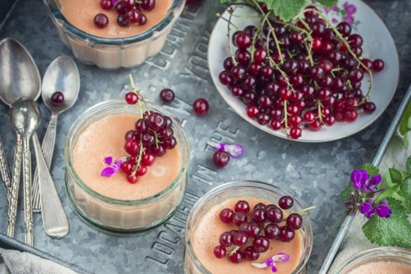 Küpsetatud valge šokolaadi kreem punaste sõstardega (pots de crème)