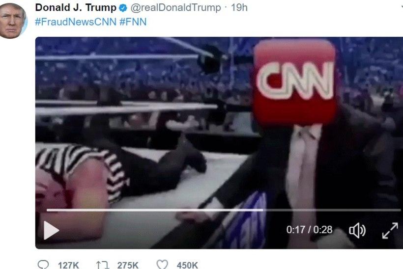Trump postitas Twitterisse video, milles tümitab CNN-i logoga meest