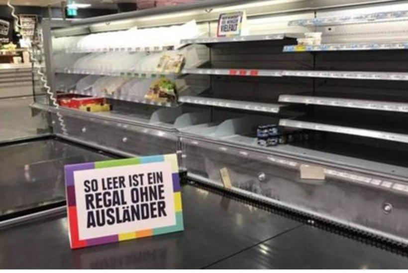 Saksa supermarket näitab, kui tühjad on toiduletid ilma välismaa kaubata