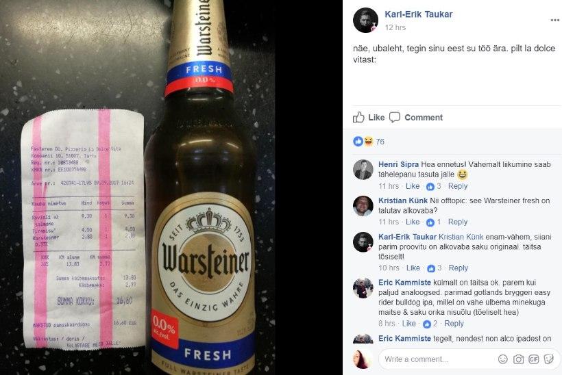 Õlleskandaali kistud Taukar on Delfi ajakirjaniku peale kuri ja tõestab pildiga, et jõi alkoholivaba õlut
