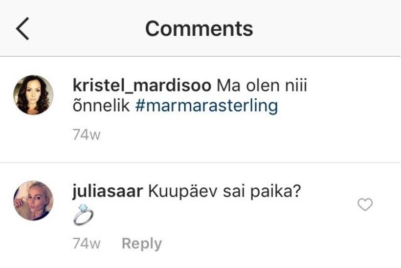 Kas Kristel Mardisoo andis oma abiellumisest sotsiaalmeedias juba mullu märku?