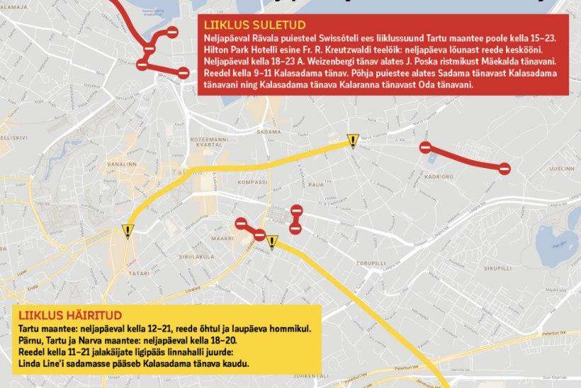 LIIKLUSKAOS TULEKUL: autojuhtidel tasub neljapäeval ja reedel Tallinna kesklinna vältida