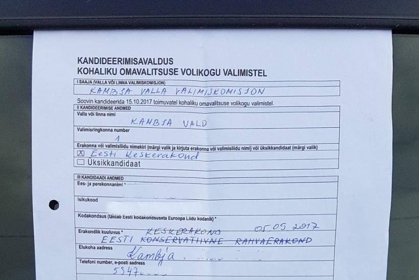Vallavolikokku kandideerimise avalduse teinud memmed arvasid, et annavad allkirja hoopis Keskerakonna toetuseks