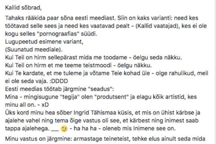 """Jana Kask läks närvi: """"Eesti laulu"""" žürii on nagu lobster'i tagumikku lakkuvad krevetid"""