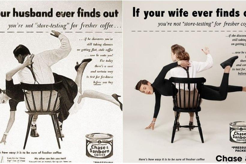 PILDID | Fotograaf vahetas vanades seksistlikes reklaamides sood ja tulemus on absurdne