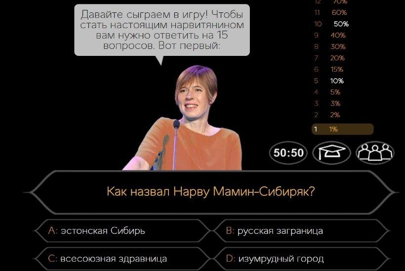 Kas oled tõeline narvalane? Pane oma teadmised proovile Kaljulaidi nägu kasutavas mängus!