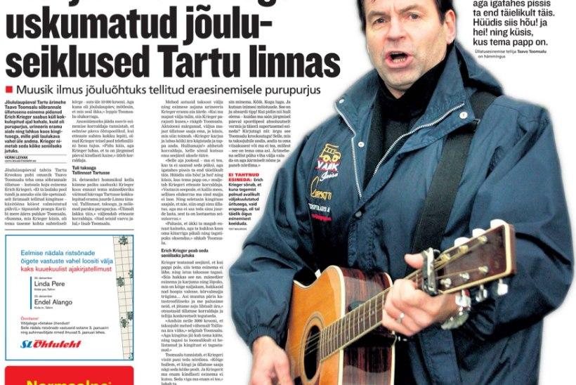 ÕHTULEHE ARHIIVIST |  Laulja Erich Kriegeri uskumatud jõuluseiklused Tartu linnas